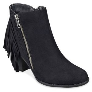 Black Fringe Booties/Ankle Boots